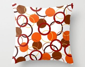 Red and Orange Pillow Covers, Yellow Pillow, Red Throw Pillow, Brown Pillow, Decorative Sofa Pillows, Colorful Pillow Cushions Couch Pillows