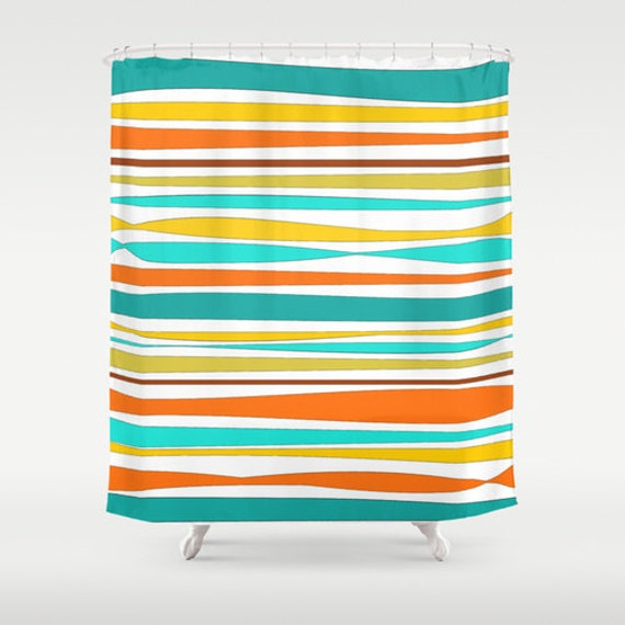 Colorful Shower Curtain  Turquoise  Teal  Orange  Yellow  Striped Shower  Curtain  Bath Curtain  Teal Bathroom Decor  Designer Shower CurtainColorful Shower Curtain Turquoise Teal Orange Yellow. Yellow And Teal Shower Curtain. Home Design Ideas