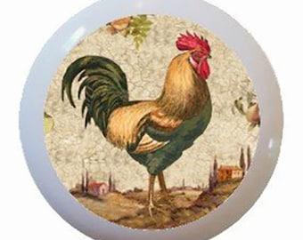 Country Rooster Chicken Ceramic Knobs Pulls Kitchen Drawer Dresser Cabinet