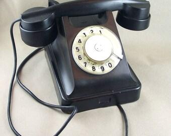 Vintage  Soviet Rotary Telephone.  Soviet  Bakelite Vintage phone. Made in USSR.  Steampunk.