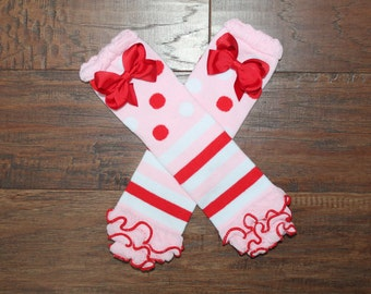 ON SALE-Valentines Day Pink/Red Infant Leg Warmers With Ruffles-With or Without Matching Bows, Baby Leg Warmers