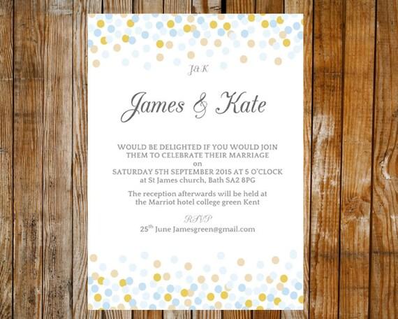 Wedding invitation template - Confetti (pale blue and light gold ...