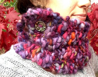 Hand-Knit Side-Buttoned Cowl