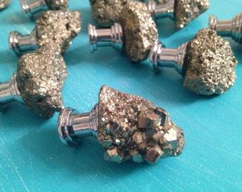 Gold Shimmer Pyrite Gemstone Rock Knobs ~ Boho Decor ~kitchen, bath or cabinet
