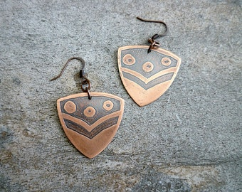 Etched Copper Earrings, Antiqued Copper Earrings, Etched Copper Jewelry, Oxidized Copper Earrings, Geometric, Abstract, Circles, Crest