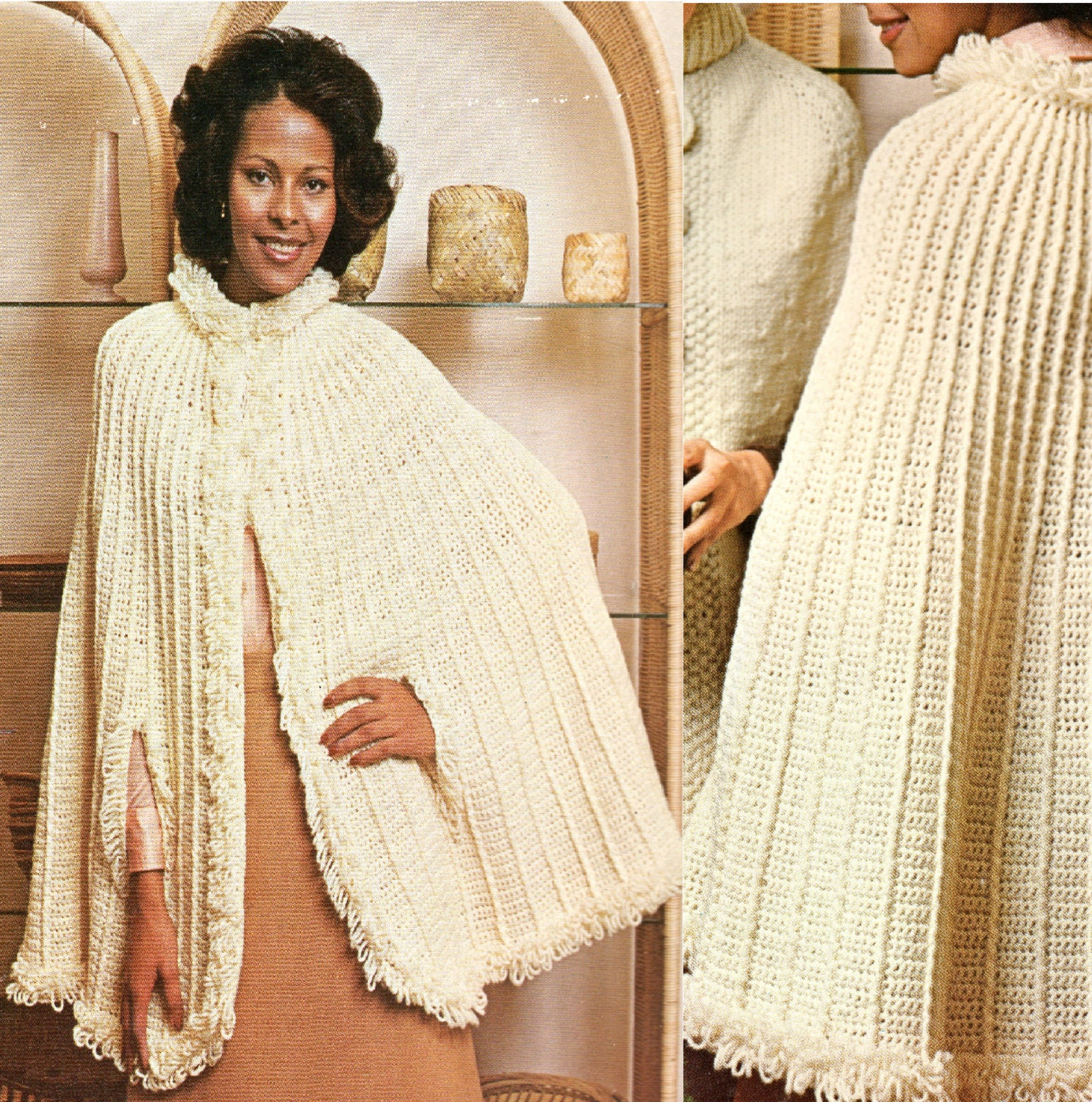 1970s cape poncho loopy crochet pattern vintage long full cape. Black Bedroom Furniture Sets. Home Design Ideas