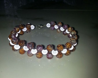 Silver Plated Lilac and Orange Miracle Bead Bracelet