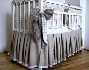 Linen Bed Skirt for a baby, Crib Skirt - Custom color
