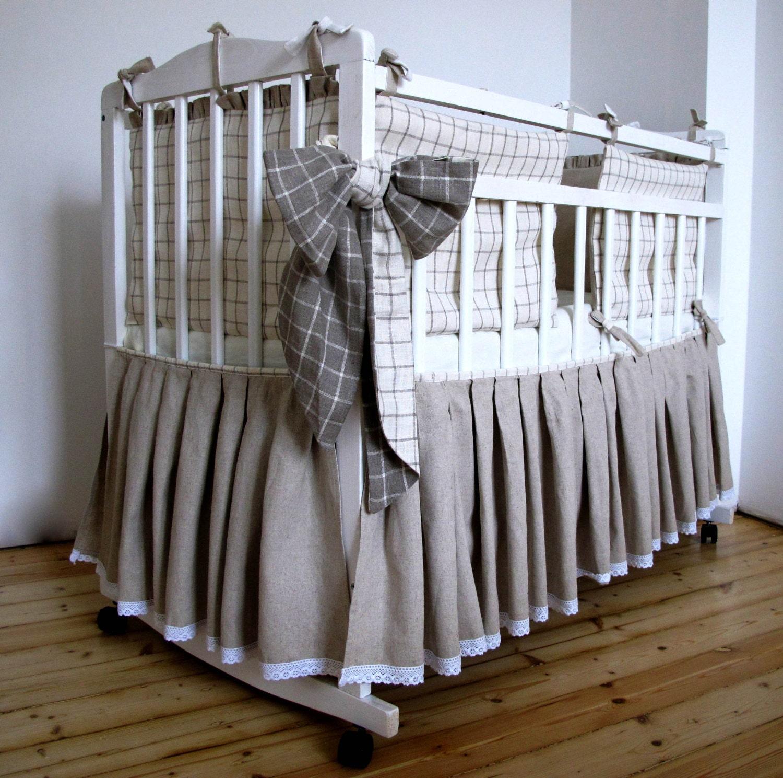 Linen Bed Skirt For A Baby Crib Skirt Custom Color