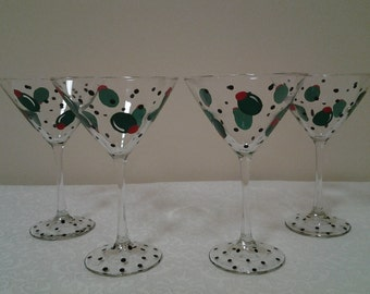 Hand-Painted Olive Martini Glasses, Set of 2