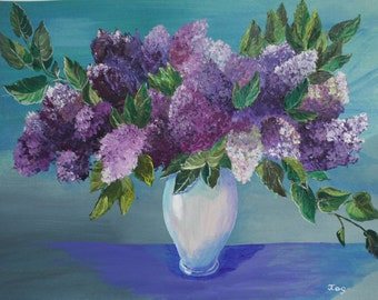Acrylic Painting Canvas Art Lilac Purple Flowers Drawing Flower Acrylic Painting On Canvas Wall Home Decorations Purple Flowers