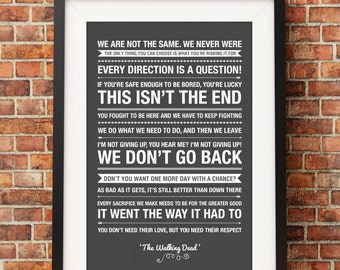 The Walking Dead Quotes - Jpeg - A4 + Letter + 8x10 - INSTANT DOWNLOAD - Digital Print - Wall Art - Printable Poster