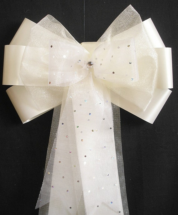 Church Pew Decorations For Weddings: 10 X Sparkly Organza Wedding Church Pew Decorations Pew End