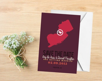 Save the Date, State Save the Date Postcard, Destination Wedding, Wedding Invitations, New Jersey, Stationery, State Map