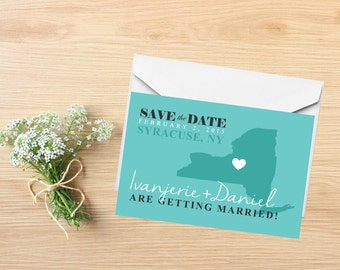 Save the Date, State Save the Date Postcard, Destination Wedding, Wedding Invitations, New York, Stationery, State Map