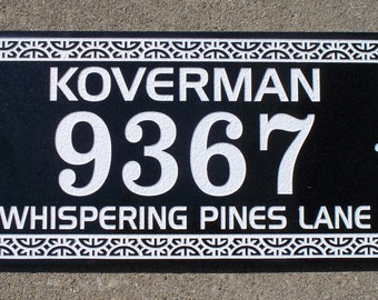 Black Granite address plaque custom carved 9 x 18""