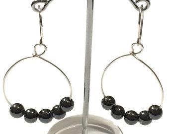 Grey Hematite Hoop earrings Silver plated Wire Hoops handmade earrings Artisan Jewelry Wire Hoops