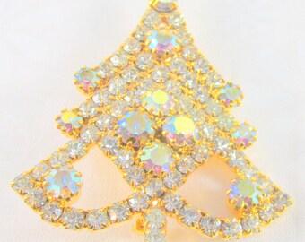 Rhinestone & Aurora Borealis Christmas Tree Brooch