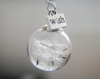 Dandelion Seeds Make A Wish Glass Orb Necklace
