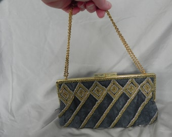 1970's or 1980's Unique Gray Beaded Clutch Formal Purse Shoulder Bag with Gold Handle