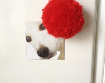 Pom pom magnets - red set