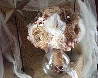 Wedding Bouquet, Bride, Bridesmaid, Burlap Tulle Polyester Flowers, Embellishments, Rustic Chic, Country, Barn