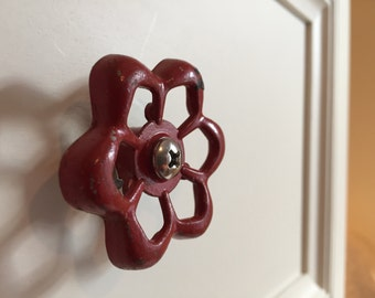 Pair of Red Vintage Faucet Handle Drawer Pulls