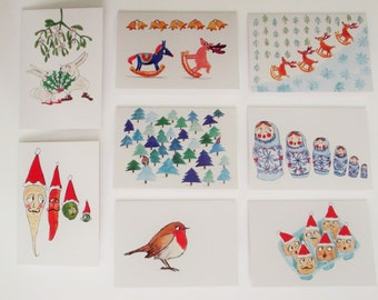 Pack of 8 A6 mixed Christmas cards with envelopes.