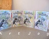 Note card set, post cards, art priint, original design, graphic, bird, French, Paris, baloon, vintage, victorian, blank, set, 4 different,