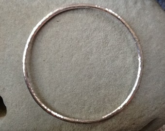 Handmade sterling silver bangle bracelet hand-hammered textured sparkle classic cool substantial single