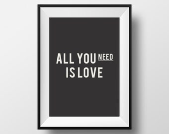 All you need is love, Motivational Print, Printable, Typography Art, Inspirational Quote, Motivation, Home Decor, Wall, Instant