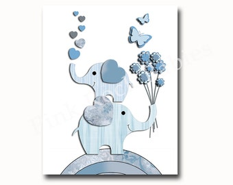 Children room decor, baby boy room decor, elephant decor, kids room decor, nursery wall decor, play room decor, blue gray nursery artwork