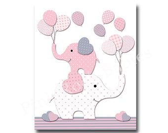 Pink nursery wall art for baby girl room decor pink elephant nursery art play room decor nursery artwork kids room decor children room decor