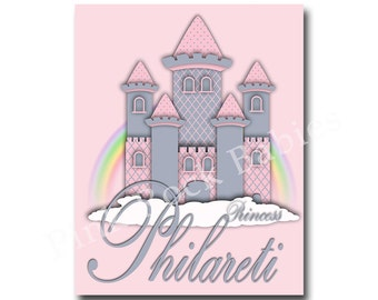 Nursery princess castle wall art custom baby girl name art nursery typography nursery wall art baby girl room art for baby girl room decor