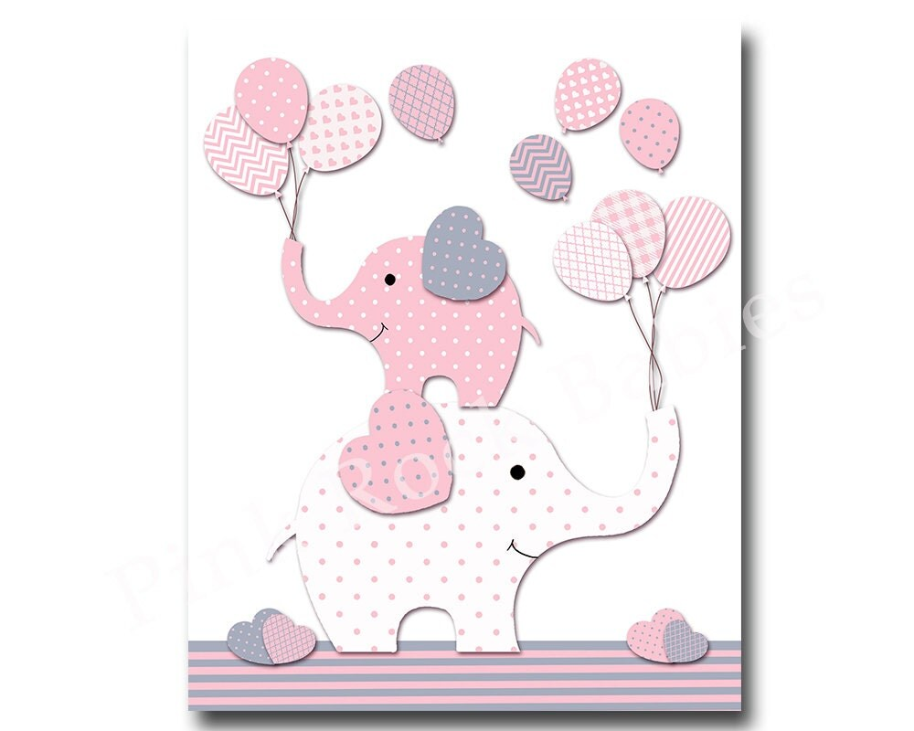 Pink Nursery Wall Art For Baby Girl Room Decor Pink Elephant