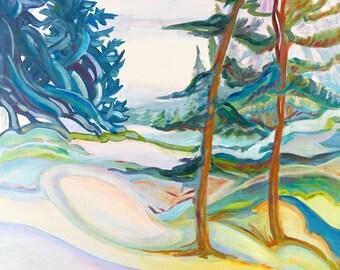 Fabuleux Neige colorée art contemporain paysage hiver arbres RH32