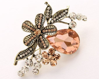 Peach Coral Brooch Crystal Gold Broach Component Peach Coral Color Brooches DIY Jewelry Embellishment