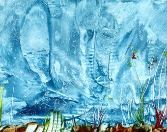 Fantasy wax art stormy seabed scene mainly in blue