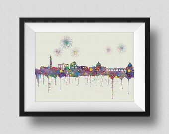 Rome Italy Skyline Watercolor Map Art Print Rome Skyline Italy Ink Splash Poster Art Canvas