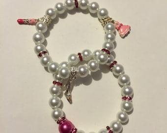 Pretty In Pink Pearl Charm Bracelet Set