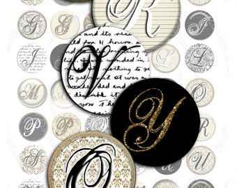 Digital collage CIRCLES CHIC 1 inch circle alphas damask for pendant magnet and craft instant download printable download - tn117