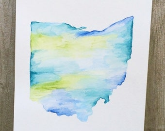 Handpainted Watercolor State Art
