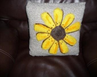 Sunflower needle felted pillow