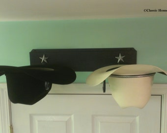 American Made Cowboy Hat Rack Black With Silver Stars
