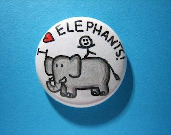 "Elephants pin - I heart Elephants - 1"" pin-on button"