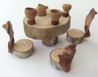 Fairy garden, Fairy house, Tea party, Eco friendly, Olive wood, woodland, Organic, Natural, Miniature table set