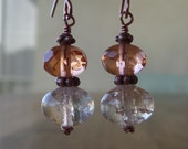 Peach Faced & Crackle Glass Beads Antique Copper Earrings