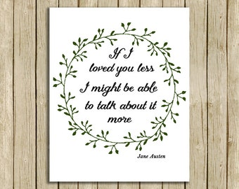 printable wall art Jane Austen quote If I loved you less instant download 8 x 10 literary typography print book lover home decor
