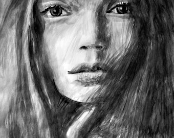 Original sumi-e painting, FINE ART PRINT limited edition of 20, Silence, Beautiful young woman face, portrait, modern wall art, home decor