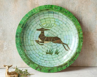 Mid Century Waverly Reindeer Mosaic Serving Platter Melamine Green, Vintage Serving Platter, Vintage Cookie Platter